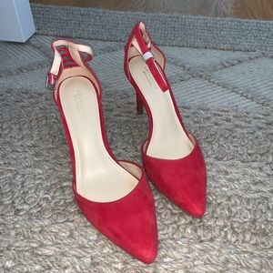 Liz Claiborne Red Suede Lace Up Kitten Heel